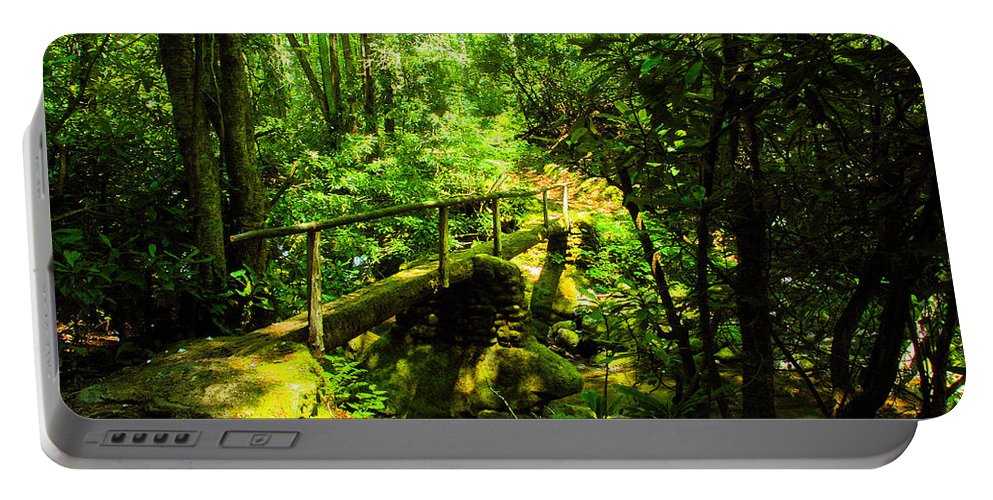 Art Portable Battery Charger featuring the painting Foot Bridge by David Lee Thompson