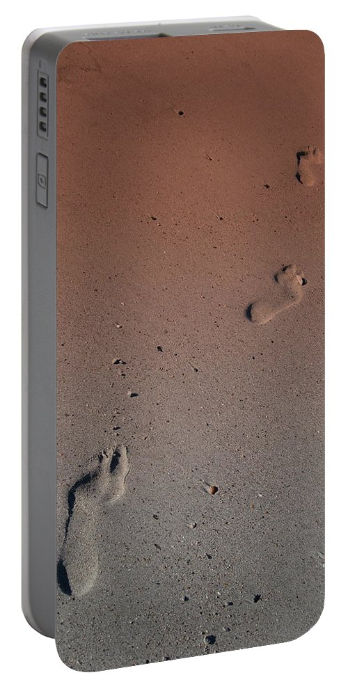 Foot Print Photos Portable Battery Charger featuring the photograph Foot Prints On The Beach by Susanne Van Hulst