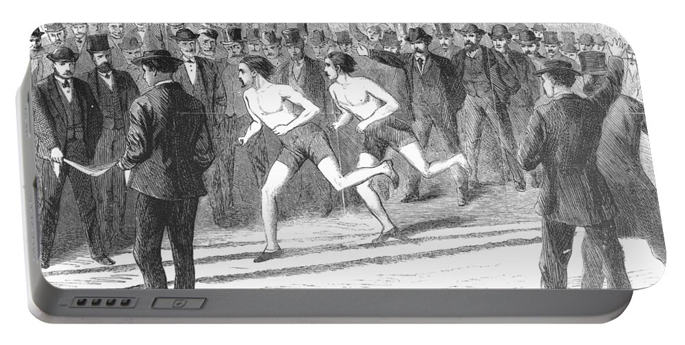 1868 Portable Battery Charger featuring the photograph Foot Race, 1868 by Granger