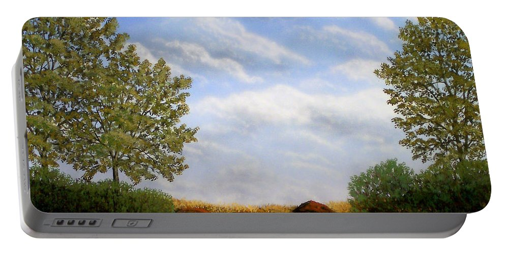 Landscape Portable Battery Charger featuring the painting Foothills Afternoon by Frank Wilson