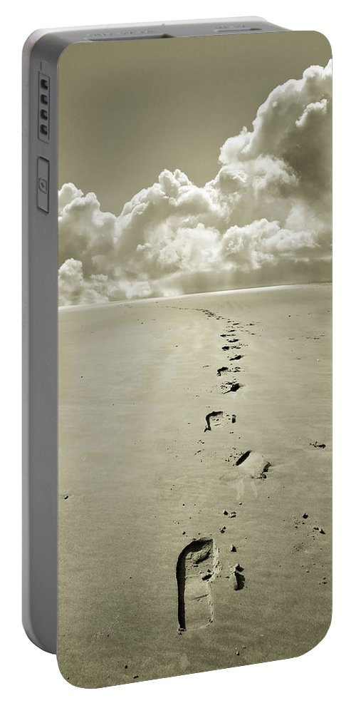 Footprints Portable Battery Charger featuring the photograph Footprints In Sand by Mal Bray