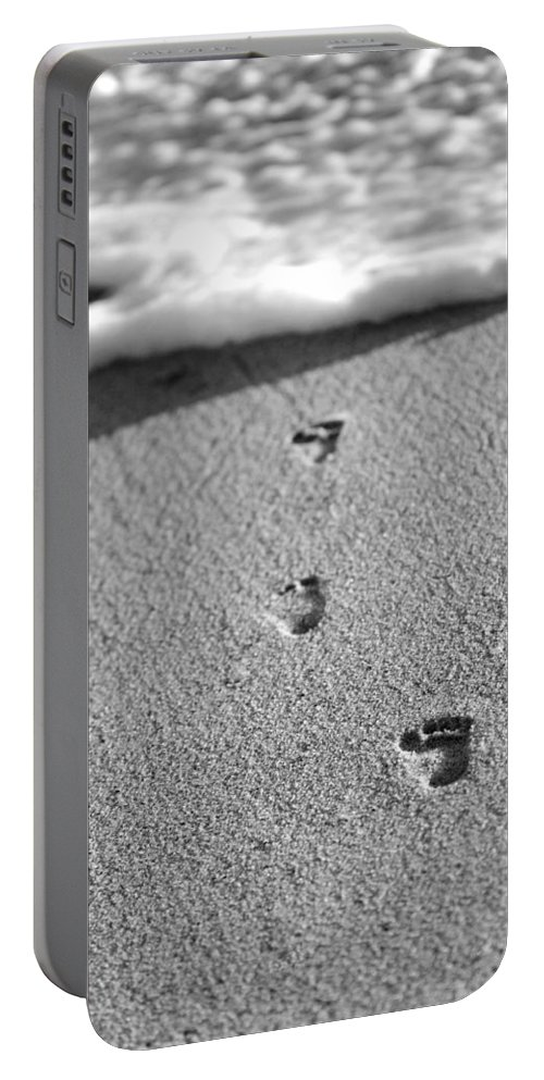 Sand Portable Battery Charger featuring the photograph Footprints In The Sand Black And White by Jill Reger