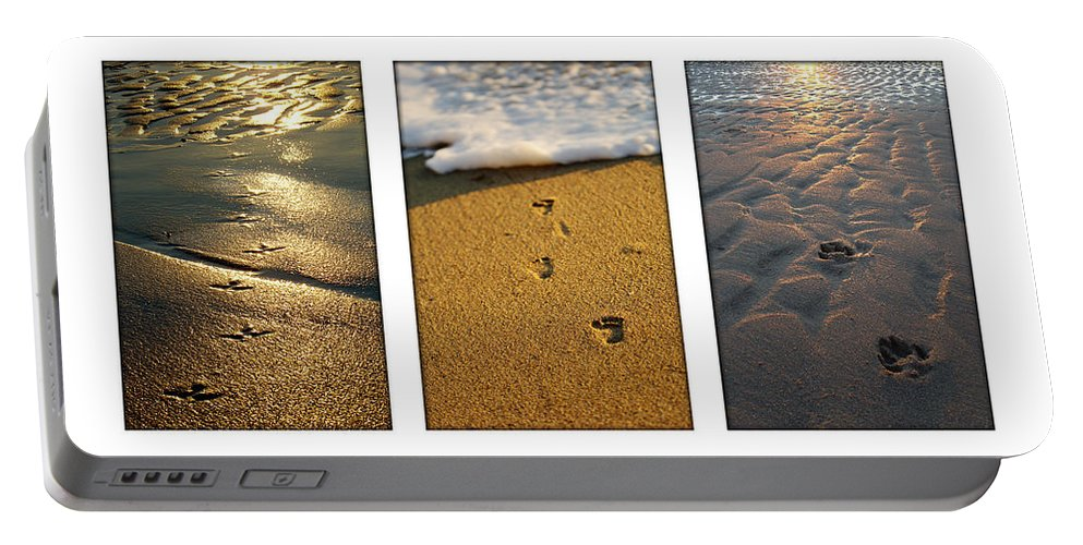 Beach Portable Battery Charger featuring the photograph Footprints In The Sand by Jill Reger