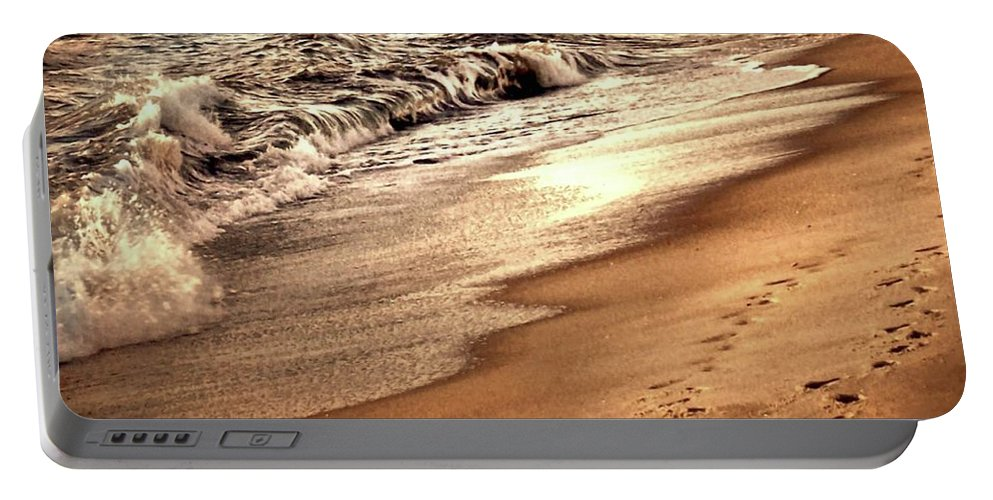 Sunset Portable Battery Charger featuring the photograph Footprints In The Sand by Michael Forte