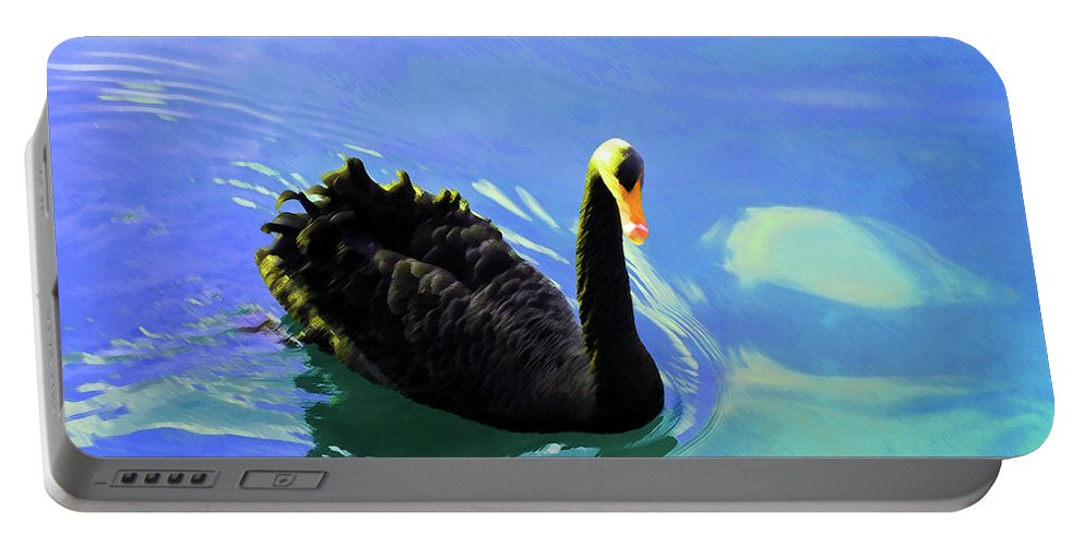 Swan Portable Battery Charger featuring the photograph For A Swim by Jost Houk