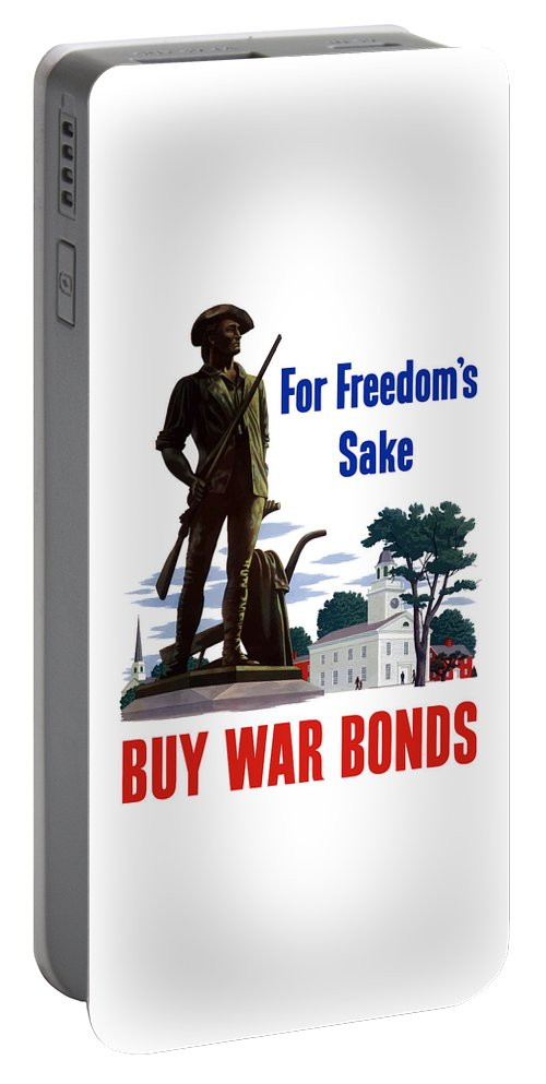War Bonds Portable Battery Charger featuring the painting For Freedom's Sake Buy War Bonds by War Is Hell Store