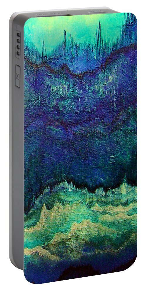 Blue Portable Battery Charger featuring the painting For Linda by Shadia Derbyshire