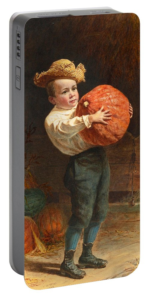 Thomas Waterman Wood Portable Battery Charger featuring the drawing For Thanksgiving Day by Thomas Waterman Wood