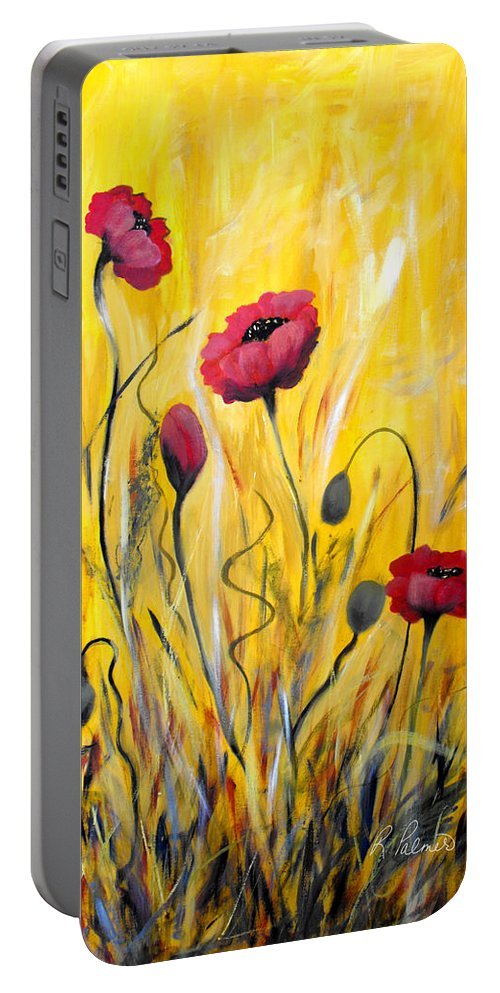 ruth Palmer Portable Battery Charger featuring the painting For The Love Of Poppies by Ruth Palmer