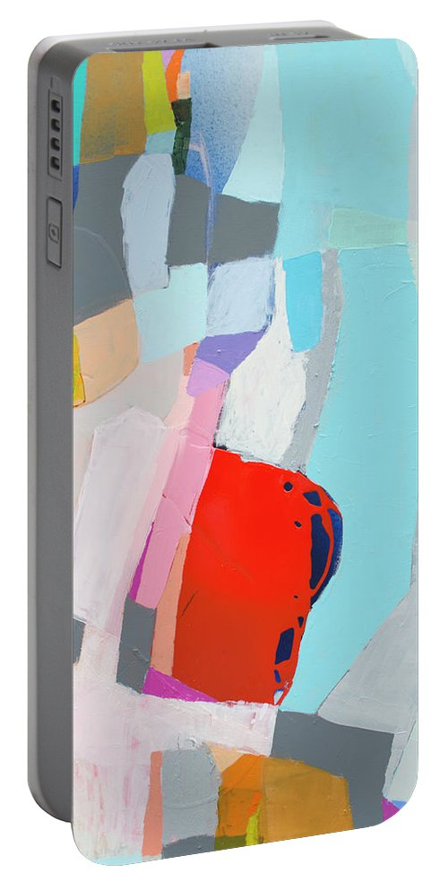 Abstract Portable Battery Charger featuring the painting For What You Are by Claire Desjardins