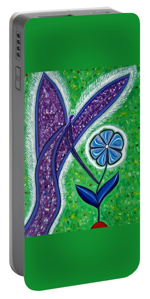 Angel Paintings Portable Battery Charger featuring the painting For You by Sandra Marie Adams