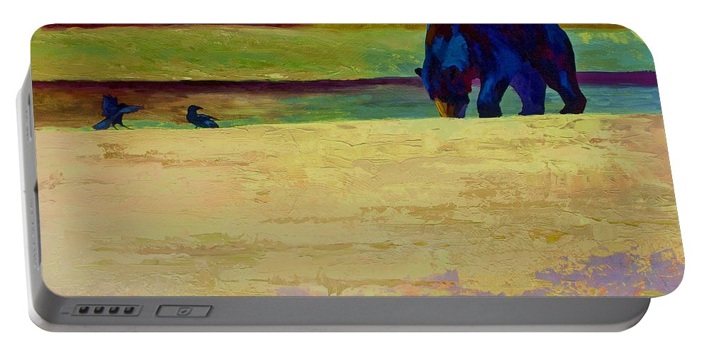 Bear Portable Battery Charger featuring the painting Foraging At Neets Bay - Black Bear by Marion Rose