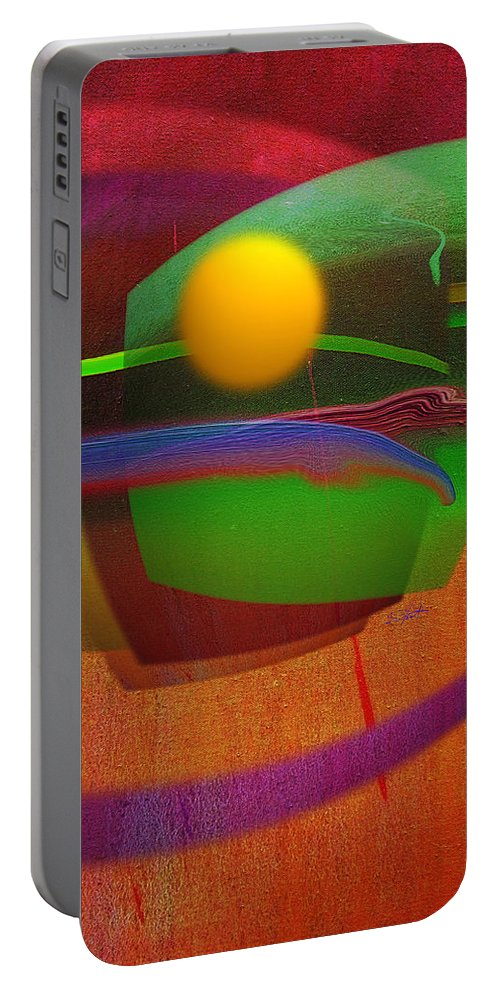 Abstract Portable Battery Charger featuring the painting Forbidden Planet by Charles Stuart