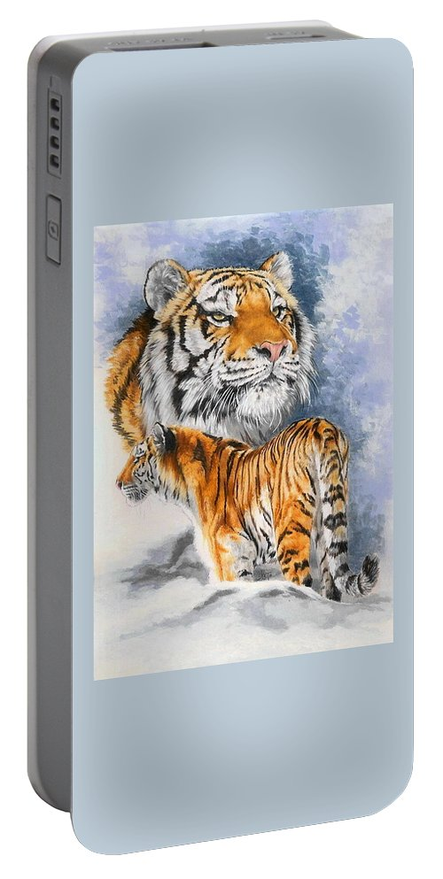 Big Cats Portable Battery Charger featuring the mixed media Forceful by Barbara Keith