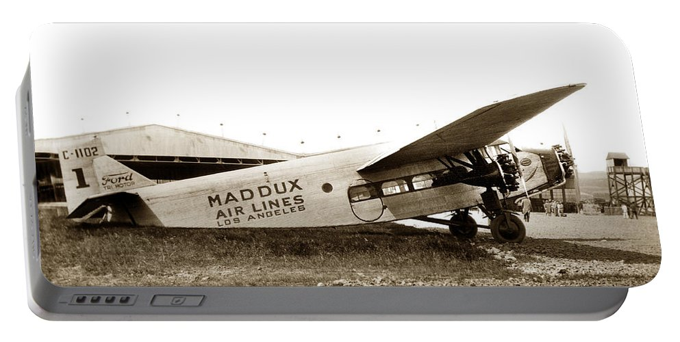 Maddux Air Lines Portable Battery Charger featuring the photograph Ford 4-at-a Maddux Air Lines Los Angeles Circa 1928 by California Views Archives Mr Pat Hathaway Archives