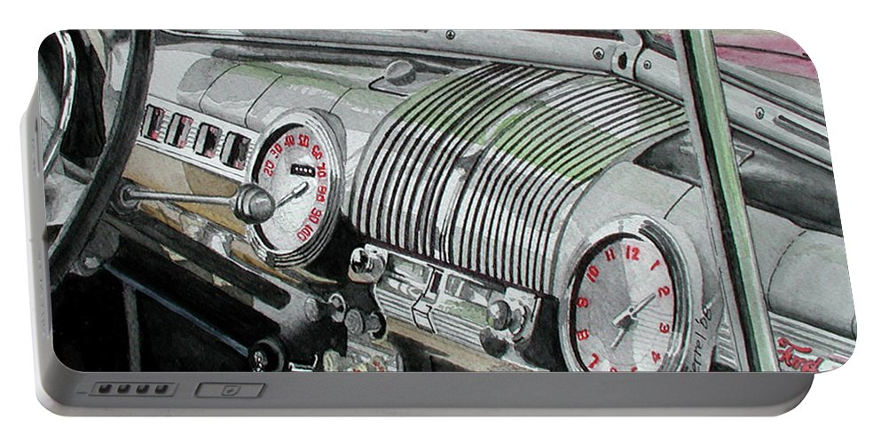 Car Portable Battery Charger featuring the painting Ford Dash by Ferrel Cordle