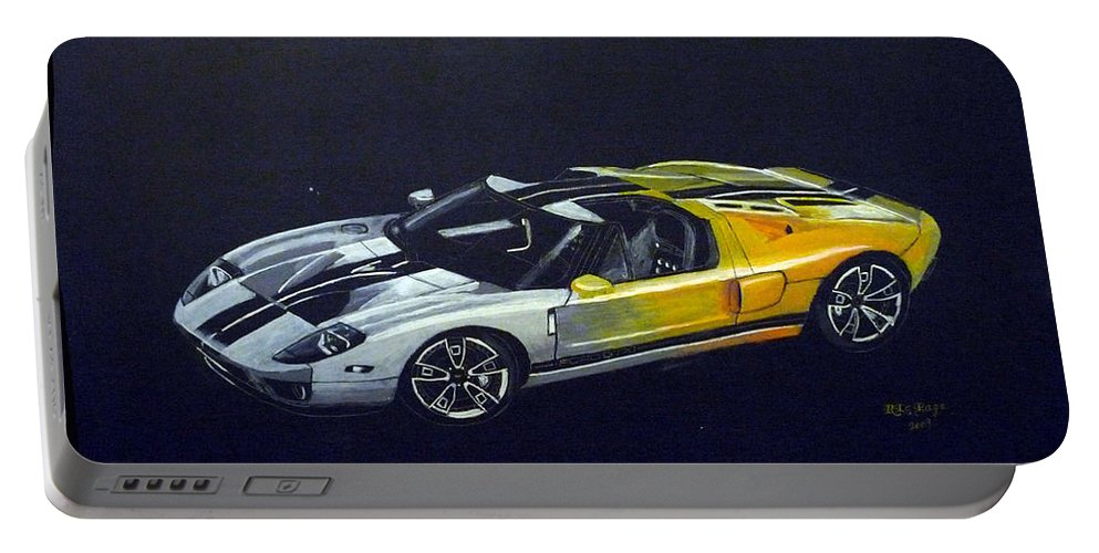 Ford Portable Battery Charger featuring the painting Ford Gt Concept by Richard Le Page