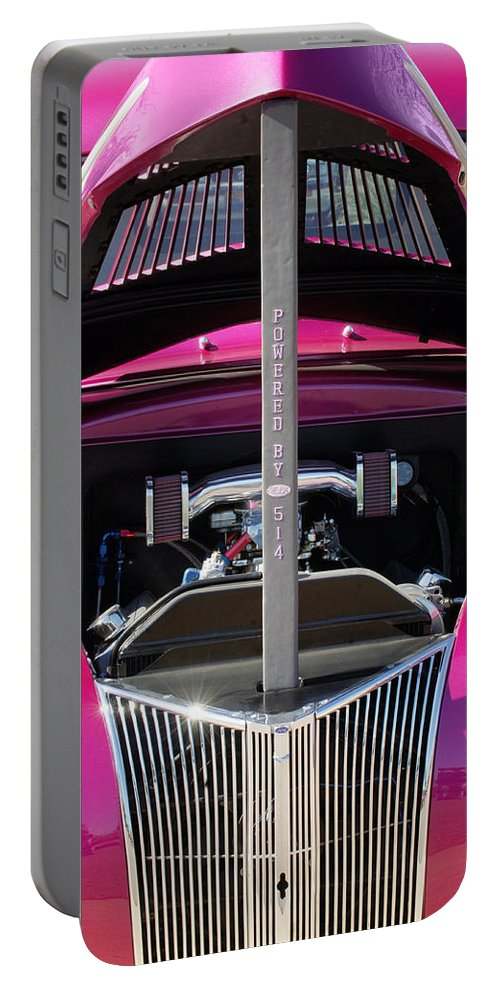 Hot Rod Portable Battery Charger featuring the photograph Ford Hot Rod Grille by Jill Reger