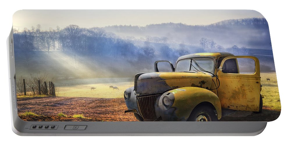 Appalachia Portable Battery Charger featuring the photograph Ford in the Fog by Debra and Dave Vanderlaan