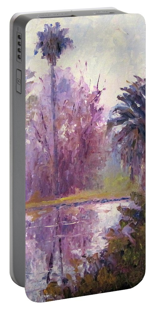 Art Portable Battery Charger featuring the painting Ford Park-cloudy Morning by Terry Chacon