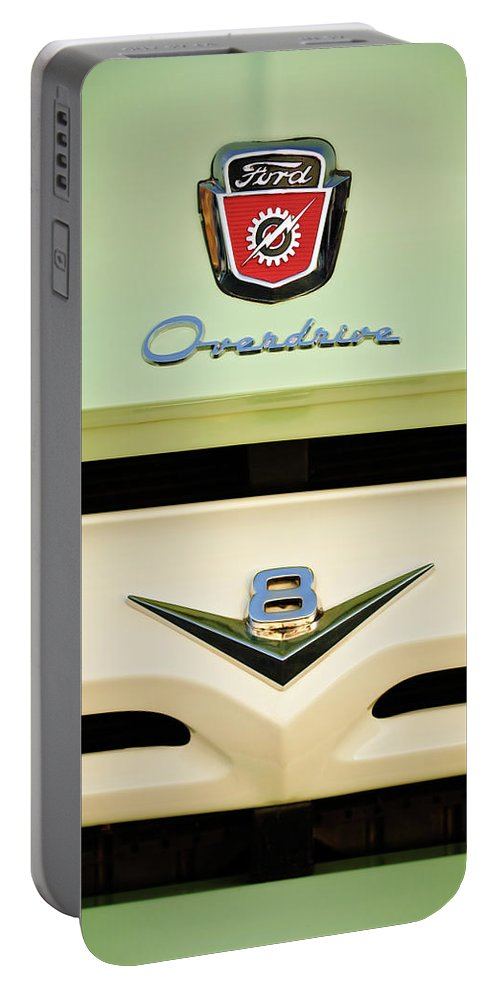 1956 Ford F-100 Truck Emblem Portable Battery Charger featuring the photograph Ford V8 Pickup Emblem by Jill Reger