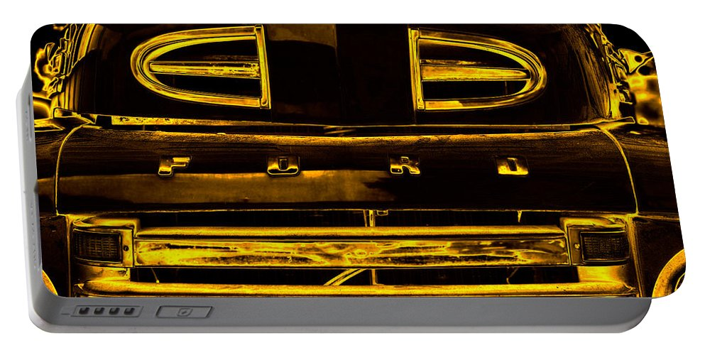 Truck Portable Battery Charger featuring the photograph Fords Golden Truck by David Lee Thompson