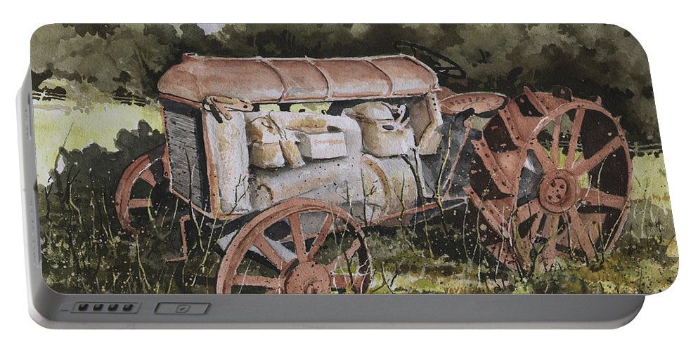 Farm Portable Battery Charger featuring the painting Fordson Model F by Sam Sidders