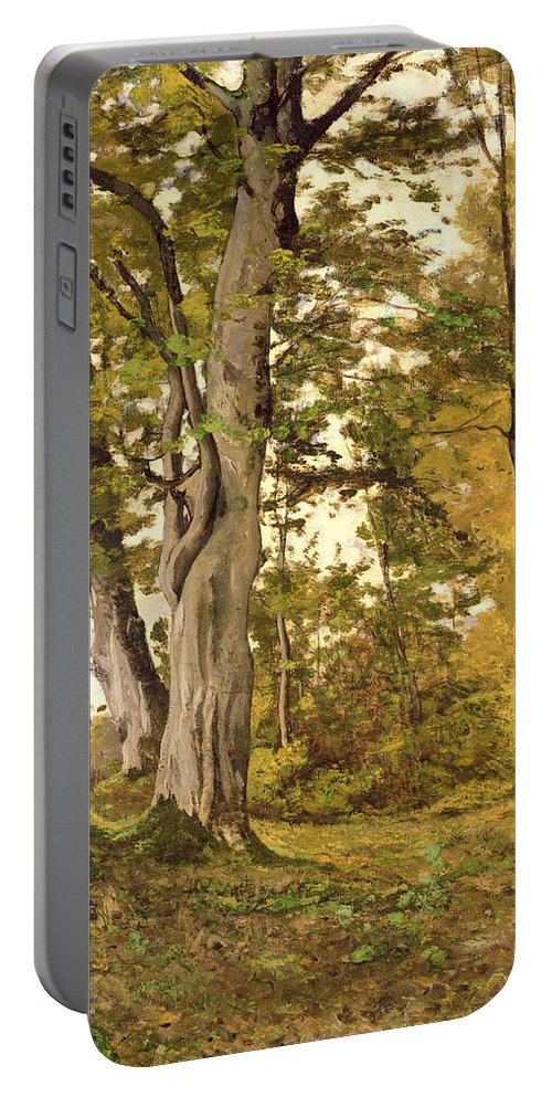 Forest Portable Battery Charger featuring the painting Forest At Fontainebleau by Henri-Joseph Harpignies