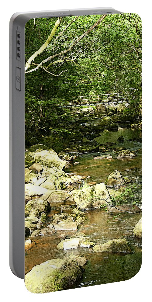 Abstract Portable Battery Charger featuring the photograph Forest Bridge by Svetlana Sewell