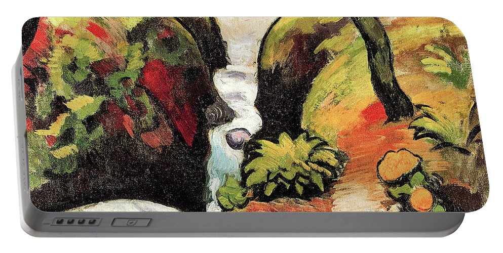 Forest Portable Battery Charger featuring the painting Forest Brook By August Macke by August Macke
