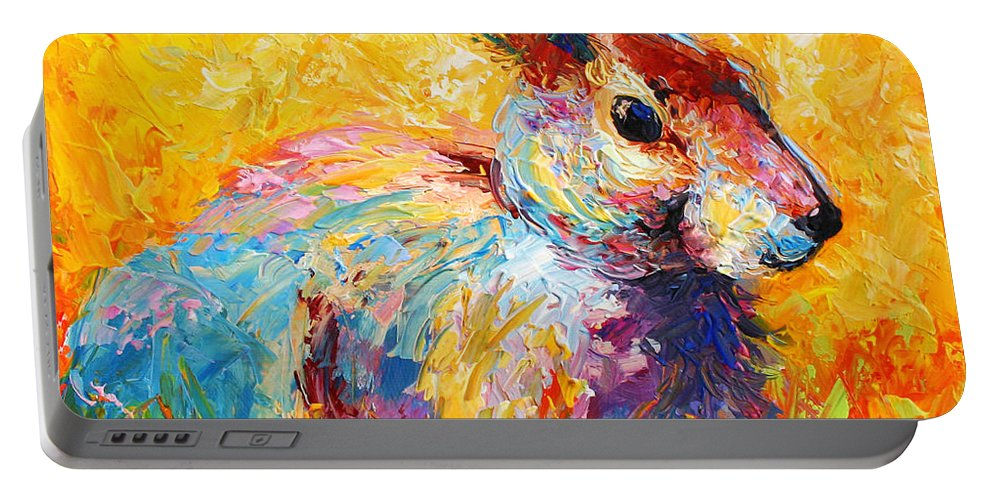 Rabbit Portable Battery Charger featuring the painting Forest Bunny by Marion Rose