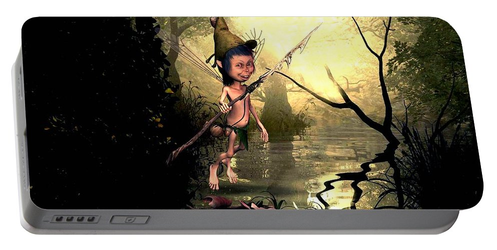 Elves Digital Art By John Junek Portable Battery Charger featuring the digital art Forest Elf by John Junek