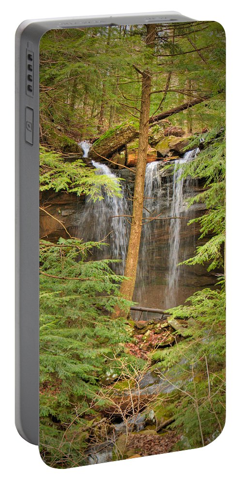 Forest Portable Battery Charger featuring the photograph Forest Falls by Douglas Barnett