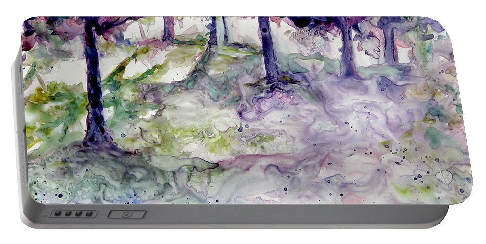 Fastasy Portable Battery Charger featuring the painting Forest Fantasy by Jan Bennicoff