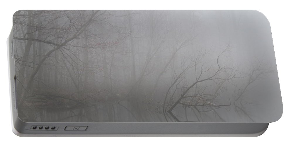 Foggy Forest Reflection Forest Fog Landscape Gray Landscape Foggy Trees Mountain Mist Woodland Fog Trees In The Mist Foggy Trees Portable Battery Charger featuring the photograph Forest Fog Reflection by Joshua Bales