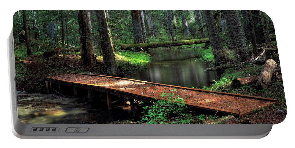Idaho Scenics Portable Battery Charger featuring the photograph Forest Foot Bridge by Leland D Howard