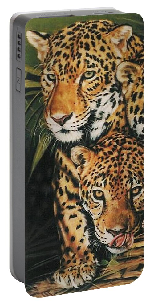 Jaguar Portable Battery Charger featuring the pastel Forest Jewels by Barbara Keith