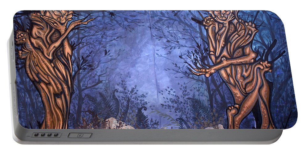 Mystic Portable Battery Charger featuring the painting Forest by Judy Henninger