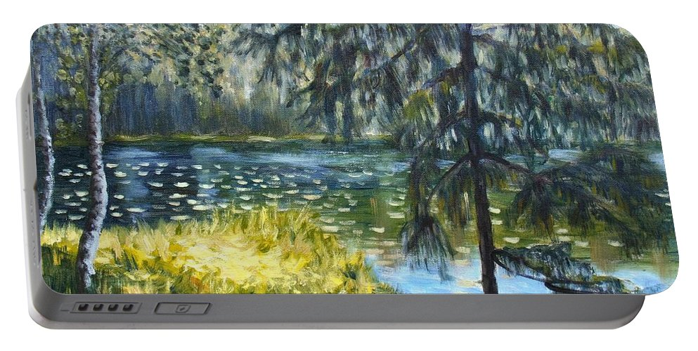 Landscape Portable Battery Charger featuring the painting Forest Lake by Elena Sokolova