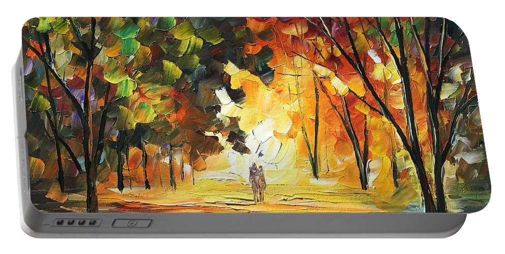Afremov Portable Battery Charger featuring the painting Forest by Leonid Afremov