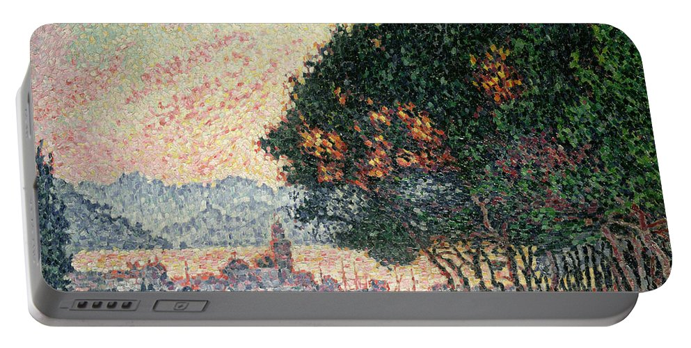 Pointillism Portable Battery Charger featuring the painting Forest Near St Tropez by Paul Signac