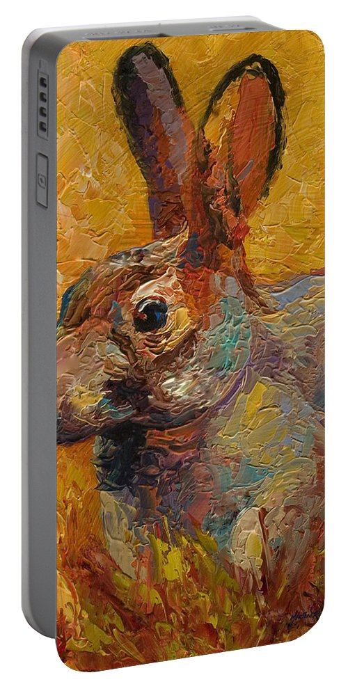 Rabbit Portable Battery Charger featuring the painting Forest Rabbit IIi by Marion Rose