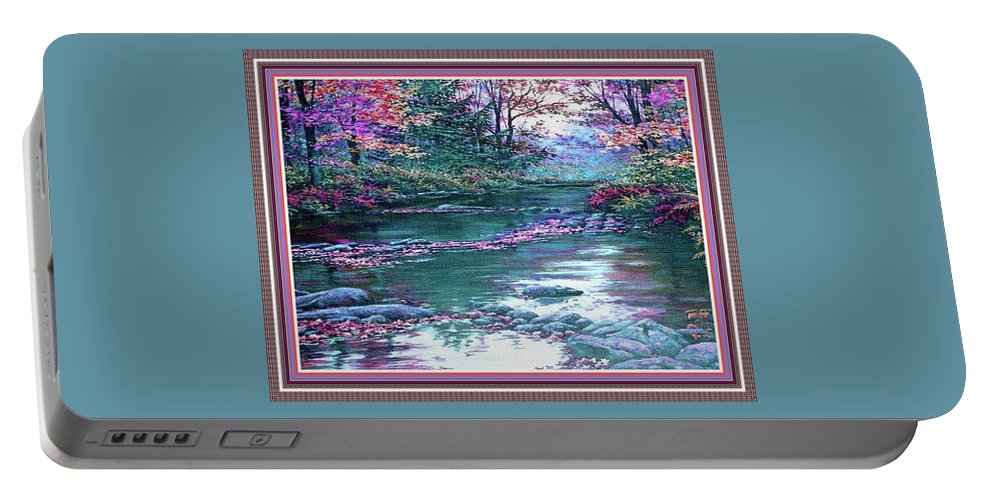 Rural Portable Battery Charger featuring the painting Forest River Scene. L B With Alt. Decorative Ornate Printed Frame. No. 1 by Gert J Rheeders