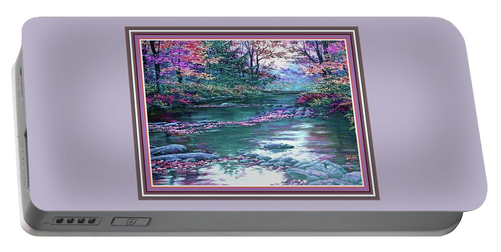 Rural Portable Battery Charger featuring the painting Forest River Scene. L B With Decorative Ornate Printed Frame. by Gert J Rheeders