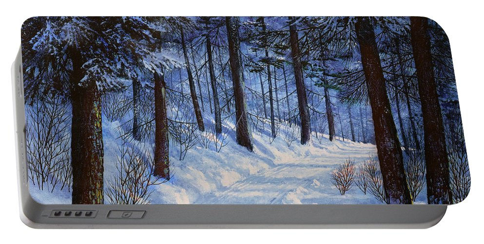 Landscape Portable Battery Charger featuring the painting Forest Road by Frank Wilson
