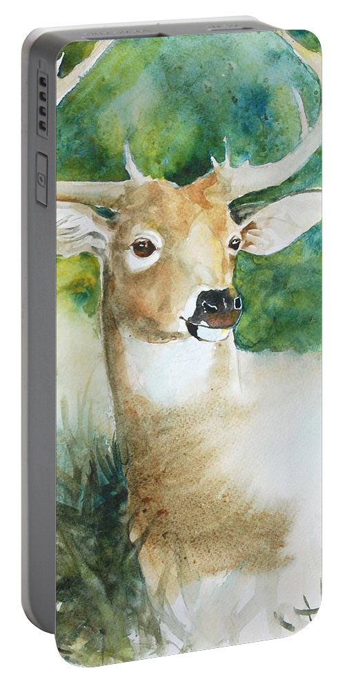 Deer Portable Battery Charger featuring the painting Forest Spirit by Christie Martin