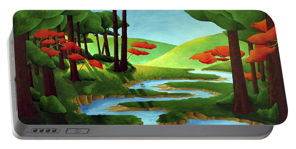 Landscape Portable Battery Charger featuring the painting Forest Stream - Through The Forest Series by Richard Hoedl