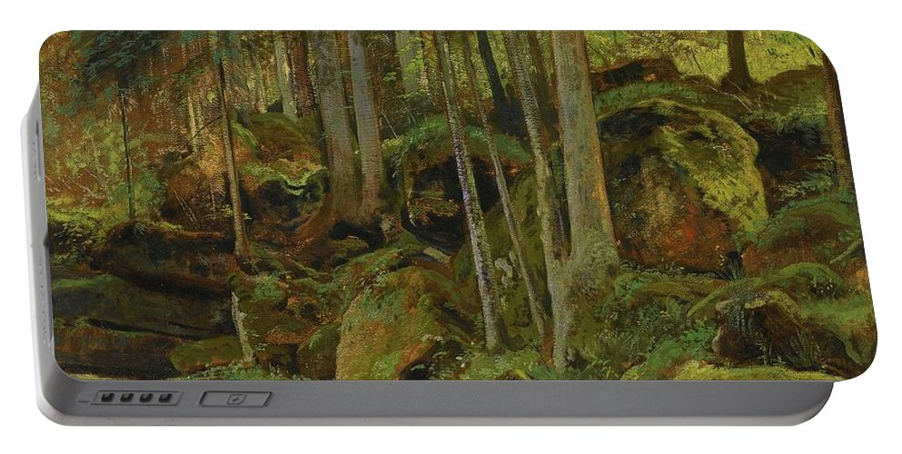 Ivan Ivanovich Shishkin 1832-1898 Forest Stream Portable Battery Charger featuring the painting Forest Stream by MotionAge Designs