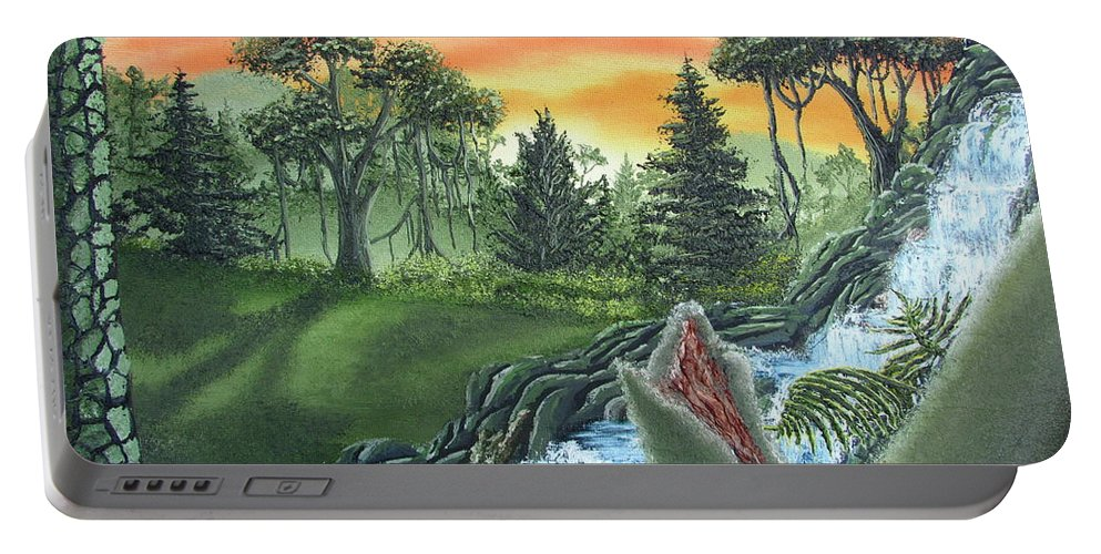 Forest Sunset Waterfall Canvas Prints Landscape Canvas Prints Painting Oldgrowth Boreal Forest Waterfall Cascade Paintings Nature Images Oldgrowth Forest Paintings Boreal Forest Paintings Appalachian Forest Paintings Forest Landscape Paintings Woodland Landscape Oil Paintings Mature Forest Sunset Paintings Fine Art Natural Landscape Oil Paintings Forest Waterfall Oil Paintings Forest Cascade Oil Paintings Forest Painting Prints Waterfall Painting Prints Natural Landscape Painting Prints Portable Battery Charger featuring the painting Forest Sunset Cascade by Joshua Bales