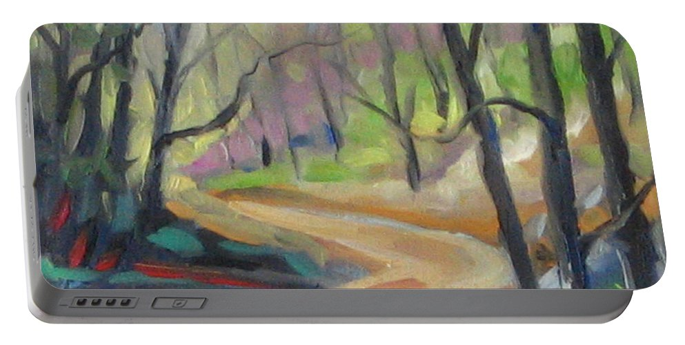 Art Portable Battery Charger featuring the painting Forest Way by Richard T Pranke